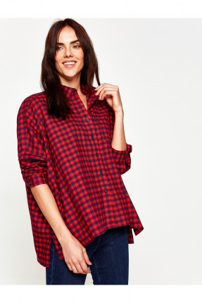 قميص نسائي كارو ناعم - احمر