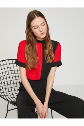 قميص نسائي كلاسيكي - اسود و احمر