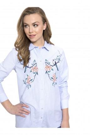 قميص نسائي كم طويل مخطط مع رسمة ورد مزين بشك