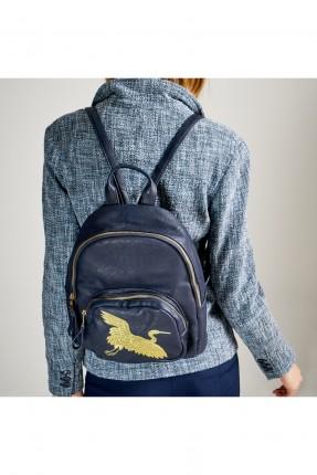 حقيبة ظهر نسائية مع طبعة طائر القلق - ازرق داكن