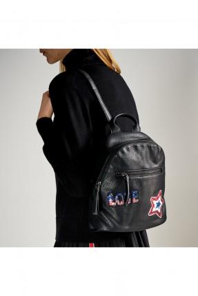 حقيبة ظهر نسائية مع طبعات - اسود