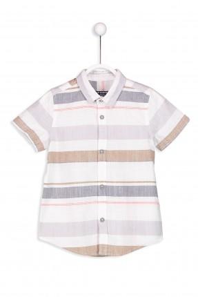 قميص اطفال ولادي مخطط نص كم