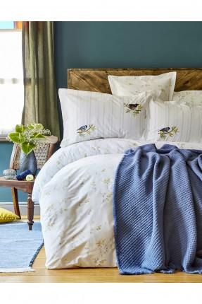 بطانية سرير مزدوج من قياس 200 * 220 سم - لون ازرق