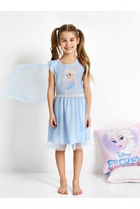 فستان نوم اطفال بناتي مع رسمة فروزن مع تول