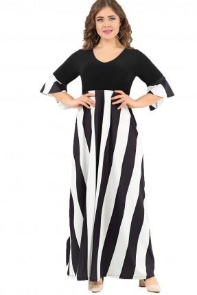 فستان نسائي مخطط من اسفل - اسود