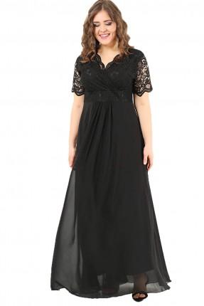 فستان بياقة V دانتيل نصف كم طويل - اسود