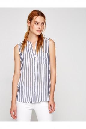 قميص نسائي مخطط بلا اكمام - ازرق فاتح