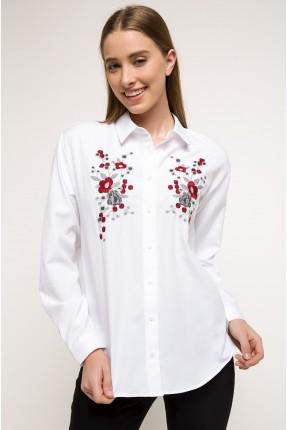 قميص نسائي مطرز بورد - ابيض