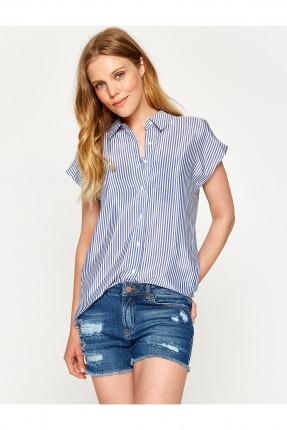 قميص نسائي مقلم طويل - كحلي