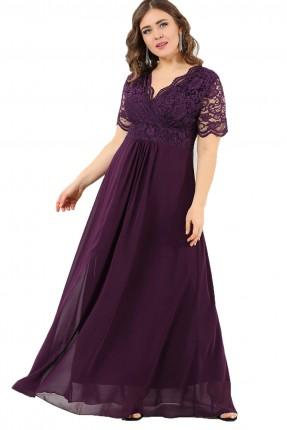 فستان بياقة V دانتيل نصف كم طويل - بنفسجي