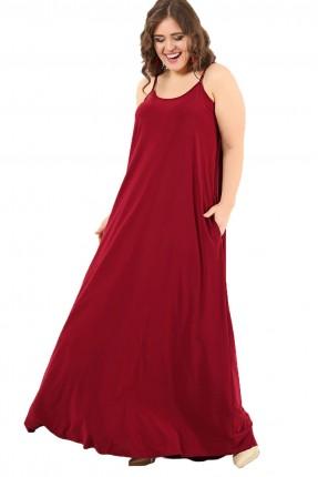 فستان بروتيل فضفاض طويل سبور - خمري