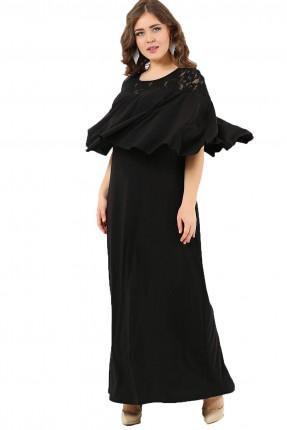 فستان من الاكتاف دانتيل مشرشب طويل - اسود