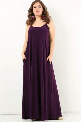 فستان بروتيل فضفاض طويل سبور - بنفسجي