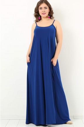 فستان بروتيل فضفاض طويل سبور - ازرق