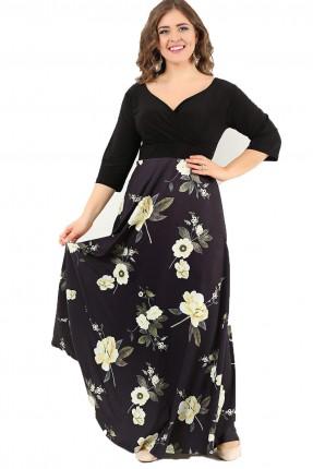 فستان بياقة V مورد من الاسفل طويل