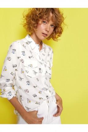 قميص نسائي كلاسيكي برسوم ملونة - ابيض