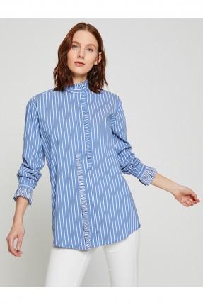 قميص نسائي مخطط و مكشكش عند الاكمام