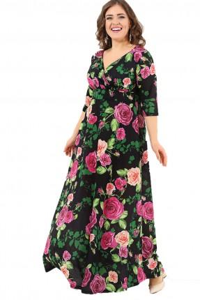 فستان مورد بياقة V طويل
