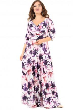 فستان منقوش ازهار طويل - بنفسجي