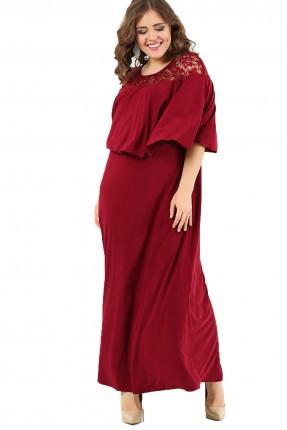 فستان اكمام دانتيل مشرشب طويل - خمري