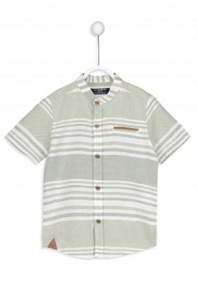 قميص اطفال ولادي نص كم ياقة صينية مخطط