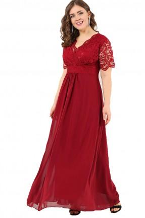 فستان بياقة V دانتيل نصف كم طويل - خمري
