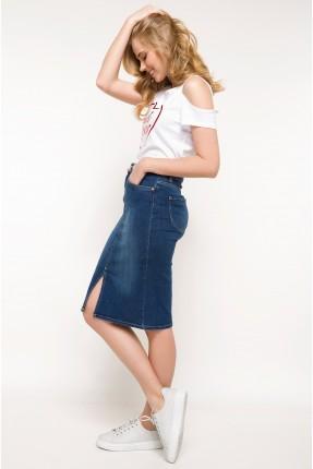 تنورة طويلة  جينز مع شق من الامام - ازرق