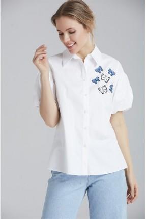 قميص نسائي نص كم مطرز بفراشات
