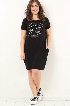 فستان مطبوع نصف كم قصير سبور - اسود