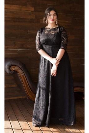 فستان دانتيل طويل شفاف من الاكمام - اسود