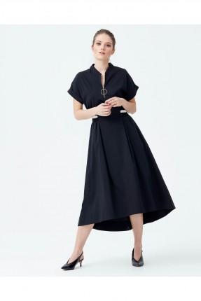 فستان فلو من الاسفل نصف كم - اسود