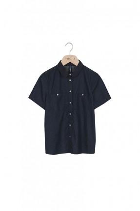 قميص نسائي بجيوب على الجانب - كحلي