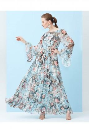 فستان شيفون مطبوع ازهار طويل - ازرق