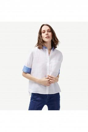 قميص نسائي بجيب جانبي و حواف زرقاء - ابيض