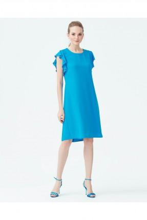فستان باكمام مشرشبة نصف كم - ازرق