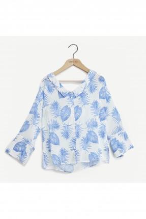 قميص نسائي منقش بالاوراق - ازرق