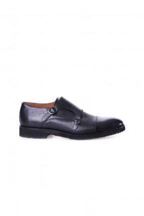 حذاء رجالي جلد مع موديل حزام - اسود