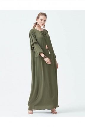 فستان فضفاض مشرشب من الاكمام - زيتي