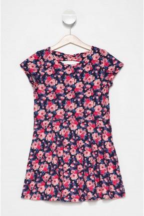 فستان اطفال بناتي مزخرف بورد - ازرق داكن