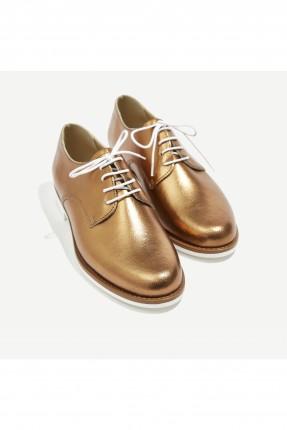حذاء نسائي بقماشة لامعة - ذهبي
