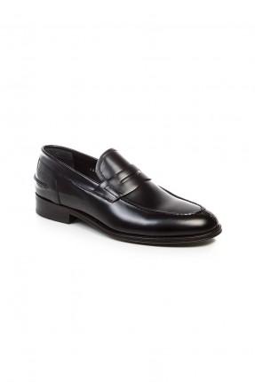 حذاء رجالي جلد ذو لمعة - اسود