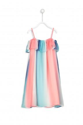 فستان اطفال بناتي مع كشكش ملون