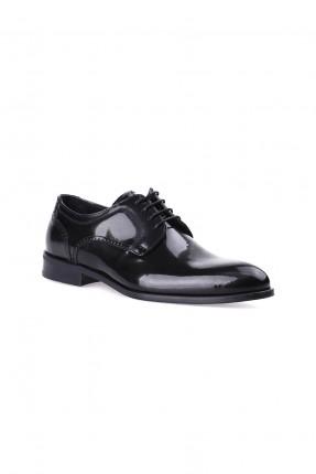 حذاء رجالي جلد ذو لمعة شيك - اسود