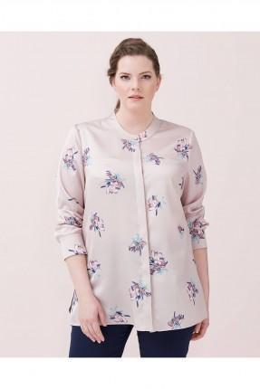 قميص نسائي بياقة صينية منقوش شيك