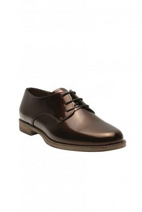 حذاء نسائي بقماشة لامعة - بني