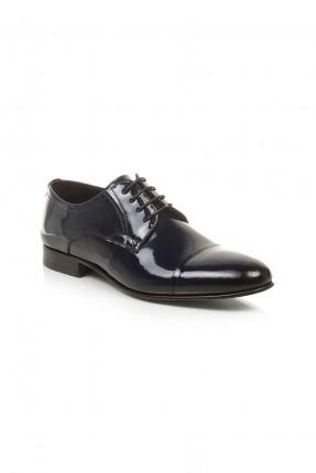 حذاء رجالي جلد ذو لمعة مع رباطات - اسود