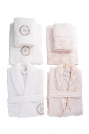طقم حمام / 2 برنص + 2 منشفة حمام + 2 منشفة وجه /