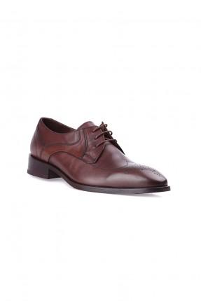 حذاء رجالي جلد مبوز من الامام - بني