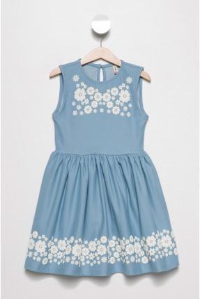 فستان اطفال بناتي منقش بزهور - ازرق