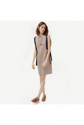 فستان نسائي مقلم مع شريط اسود على الجانب